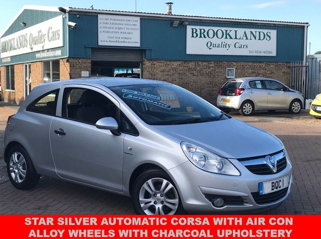 USED 2010 10 VAUXHALL CORSA 1.2 ENERGY 3d AUTOMATIC Low Miles Air Con Alloy wheels  Star Silver Automatic Corsa with Air Con Alloy Wheels with charcoal upholstery