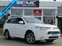 USED 2014 64 MITSUBISHI OUTLANDER 0.0 PHEV GX 4H 5d AUTO 162 BHP JUST ARRIVED. This STUNNING 1 OWNER, MITSUBISHI OUTLANDER GX4h PHEV 2.0 AUTO HYBRID. Finished in WHITE with contrasting FULL BLACK LEATHER. The Outlander PHEV is a roomy SUV that's very economical for long and short journeys. Features include Zero Road Tax, Full Leather, Sat Nav, Rear View Camera, DVD twin screen rear entertainment system, Alloys, Power Folding Door Mirrors and Cruise Control to name just a few.