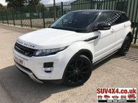 USED 2013 63 LAND ROVER RANGE ROVER EVOQUE 2.2 SD4 DYNAMIC 5d 190 BHP BLACK ROOF/ALLOYS SATNAV LEATHER 4WD. BLACK ROOF WITH MATCHING SPOILER. SATELLITE NAVIGATION. STUNNING WHITE WITH FULL BLACK AND RED LEATHER TRIM. ELECTRIC HEATED MEMORY SEATS. CRUISE CONTROL. 20 INCH BLACK ALLOYS. COLOUR CODED TRIMS. PRIVACY GLASS. PARKING SENSORS. REVERSE CAMERA. BLUETOOTH PREP. CLIMATE CONTROL INCLUDING AIR CON. MULTIMEDIA SYSTEM. R/CD/DAB RADIO. 6 SPEED MANUAL. MFSW. MOT 06/20. SERVICE HISTORY. SUV4X4 USED SUV CENTRE LS23 7FR. TEL 01937 849492. OPTION 2
