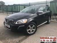USED 2011 11 VOLVO XC60 2.4 D5 R-DESIGN AWD 5d AUTO 205 BHP LEATHER FSH 4WD. R DESIGN BODYKIT. STUNNING BLACK MET WITH FULL BLACK R-DESIGN LEATHER TRIM. CRUISE CONTROL. 18 INCH ALLOYS. COLOUR CODED TRIMS. CLIMATE CONTROL INCLUDING AIR CON. BLUETOOTH PREP. TRIP COMPUTER. R/CD PLAYER. AUTO GEARBOX. MFSW. TOWBAR. MOT 08/20. SERVICE HISTORY. PRESTIGE SUV CENTRE LS23 7FR. TEL 01937 849492 OPTION 1