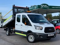 USED 2018 18 FORD TRANSIT DOUBLE CAB TIPPER 2.0 350 L3 H2 P/V DRW 1d 130 BHP Euro 6, ULEZ Compliant, Rear Cab Tool Storage, Handsfree Phone, Tow Bar, Rear Parking Camera.