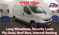 2014 VAUXHALL VIVARO 2.0 2900 CDTI ECOFLEX 115 BHP, LONG WHEEL BASE, Low Mileage 47523 Miles, Roof Bars withPipe Tube, Internal Racking and Ply- Lined £6980.00