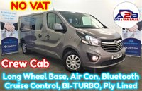 2016 VAUXHALL VIVARO 1.6 2900 CDTI SPORTIVE LONG WHEEL BASE CREW CAB BI-TURBO 120 BHP with NO VAT TO PAY, Air Conditioning, Cruise Control, Bluetooth, Rear Parking Sensors and more £14980.00