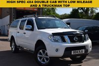 USED 2014 14 NISSAN NAVARA 2.5 DCI TEKNA 4X4 SHR DCB 1d 188 BHP Top specification 2014 Nissan Navara 2.5dci Tekna 4x4 double cab in white with black leather and a truckman top.
