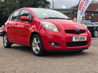 USED 2011 11 TOYOTA YARIS 1.3 TR VVT-I MM 5d AUTO 99 BHP SERVICE RECORD +   1 PREVIOUS KEEPER +  MOT AUGUST 2020 +  SERVICE RECORD +  2 KEYS +  ALLOY WHEELS +