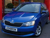 USED 2015 65 SKODA FABIA 1.2 TSI SE 5d 90 BHP £20 TAX, 1 OWNER FROM NEW, SERVICE HISTORY, RACE BLUE METALLIC, PARKPILOT REAR PARKING SENSORS W/ DISPLAY, SPEED LIMITER, BLUETOOTH W/ AUDIO STREAMING, USB + AUX IN FOR PHONE / IPOD / MP3 PLAYER, DAB DIGITAL RADIO, FRONT ASSIST (AMBIENT TRAFFIC MONITORING SYSTEM), TYRE PRESSURE MONITORING SYSTEM, 15 IN 5 SPOKE ALLOYS, DRIVER'S INFORMATION SCREEN W/ DIGITAL SPEED DISPLAY, ELECTRIC FRONT WINDOWS, ELECTRIC HEATED MIRRORS, A/C, HALOGEN DRLS, LEATHER MULTI FUNCTION STEERING WHEEL, VAT QUALIFYING.