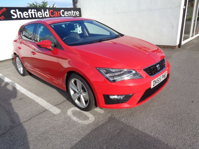 USED 2015 65 SEAT LEON 2.0 TDI FR TECHNOLOGY 5 door  184 BHP red navigation media rear sensors climate control privacy glass rear parking sensors full service history bluetooth