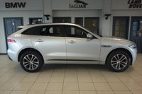 USED 2016 66 JAGUAR F-PACE 2.0 R-SPORT AWD 5d AUTO 178 BHP FINISHED IN STUNNING RHODIUM SILVER WITH TWO TONE BLACK AND CREAM LEATHER UPHOLSTERY + TOUCH SCREEN SATELLITE NAVIGATION + 1 OWNER FROM NEW FULL JAGUAR SERVICE HISTORY + WIFI HOTSPOT + HEATED SEATS + HEATED STEERING WHEEL + VOICE ACTIVATED CONTROLS + FRONT PARKING AID + REVERSE PARKING AID + ELECTRIC BOOT + CLIMATE CONTROL + XENON LIGHTS + AMBIENT LIGHTING + BASE SOUND SYSTEM + DAB DIGITAL RADIO + BLUETOOTH + AIR CONDITIONING