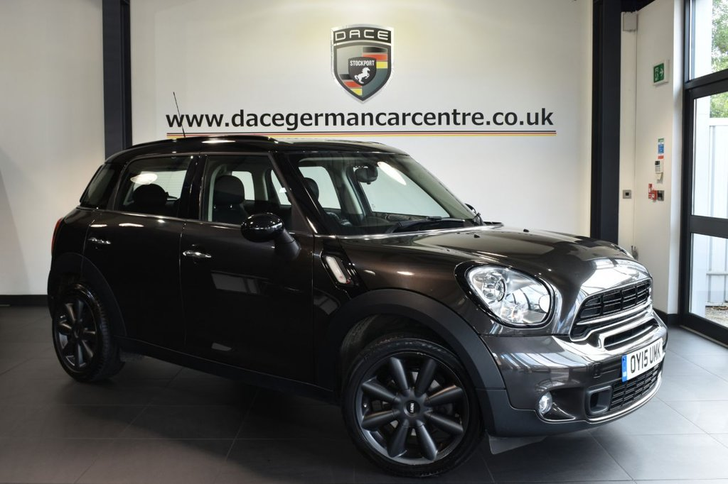 """USED 2015 15 MINI COUNTRYMAN 2.0 COOPER SD [CHILI PACK]  5DR 141 BHP full mini service history  Finished in a stunning midnight metallic grey  styled with 18"""" alloys. Upon opening the drivers door you are presented with half black leather interior, full mini service history, satellite navigation, bluetooth, xenon lights, dab radio, voice control, LED headlights, auto air con, dynamic traction control, chili pack, rain sensors, parking sensors"""
