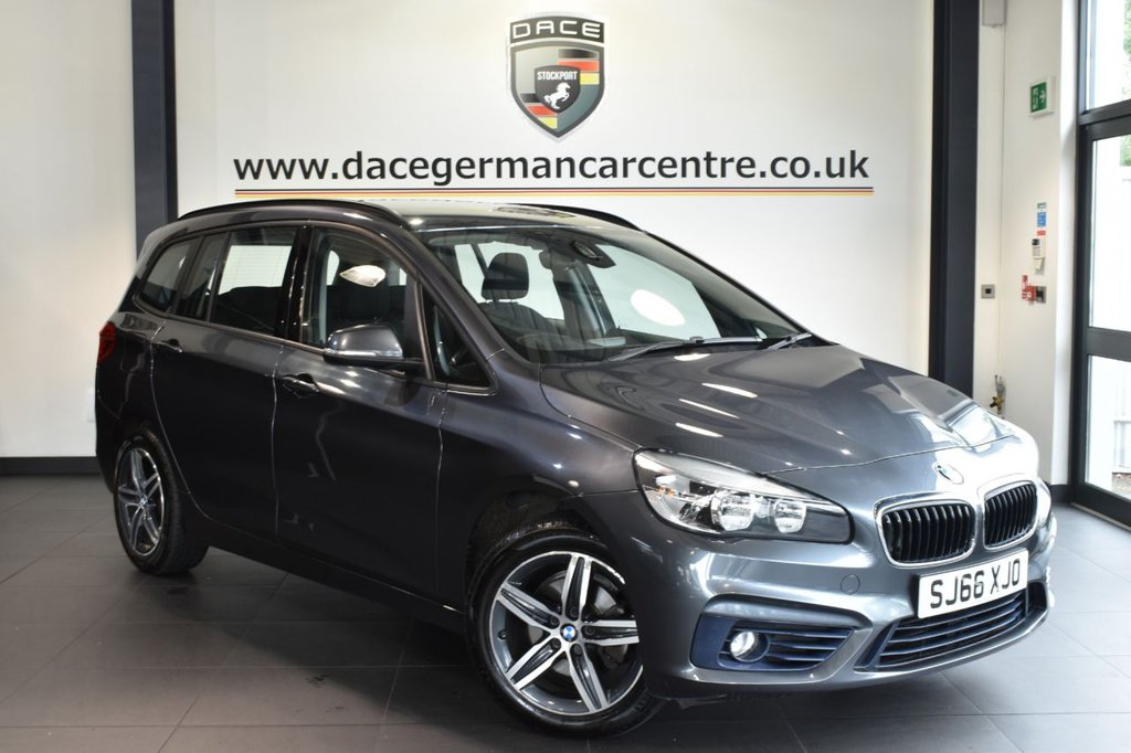 """USED 2016 66 BMW 2 Series GRAN TOURER 1.5 216D SPORT GRAN TOURER 5DR 114 BHP full bmw service history  FINISHED IN STUNNING MINERAL METALLIC GREY WITH ANTHRACITE UPHOLSTERY + FULL BMW SERVICE HISTORY + SATELLITE NAVIGATION + BLUETOOTH + 7 SEATS + PARKING SENSORS + LIGHT PACKAGE + DAB RADIO + AUTO AIR CON + RAIN SENSORS + SPORT LINE + 17"""" ALLOY WHEELS"""