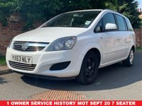 USED 2013 63 VAUXHALL ZAFIRA 1.6 EXCLUSIV 5d 113 BHP 1 OWNER, SERVICE HISTORY, MOT SEPT  2020, 7 SEATER, EXCELLENT CONDITION,  AIR CON, RADIO CD, E/WINDOWS, R/LOCKING, FREE WARRANTY, FINANCE AVAILABLE, HPI CLEAR, PART EXCHANGE WELCOME,