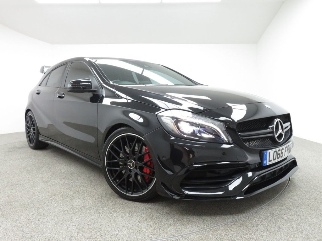 USED 2017 66 MERCEDES-BENZ A CLASS 2.0 A45 AMG 4MATIC 5d AUTO 375 BHP FINISHED IN A  STUNNING METALLIC BLACK FULL SERVICE HISTORY + 1 OWNER + AERO AMG PACKAGE + NIGHT PACK + + SAT-NAV + PARKING PILOT + RECARO SEATS + REAR CAMERA + HEATED SEATS + PERFORMANCE EXHAUST + PARKING SENSORS + CRUISE CONTROL + MULTIFUNCTION WHEEL
