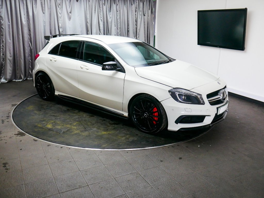 "USED 2014 64 MERCEDES-BENZ A45 A45 AMG 4MATIC AUTO £0 DEPOSIT FINANCE AVAILABLE,7"" COLOUR DISPLAY, AUX INPUT, AIR CONDITIONING, BLUETOOTH CONNECTIVITY, CLIMATE CONTROL, DAB RADIO, FULL RECARO LEATHER UPHOLSTERY, HEATED SEATS, PARKING SENSORS, PRIVACY GLASS,STEERING WHEEL CONTROLS, SAT-NAV, TRIP COMPUTER"