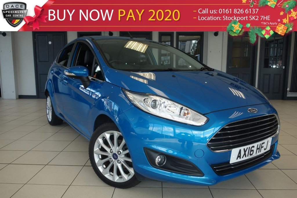 USED 2016 16 FORD FIESTA 1.5 TITANIUM X TDCI 5d 94 BHP FINISHED IN STUNNING METALLIC BLUE WITH HEATED BLACK, PART LEATHER SEATS + HUGE SPECIFICATION + 1 OWNER FROM NEW WITH AN IMPECCABLE FULL FORD SERVICE HISTORY + SATELLITE NAVIGATION + PARKING SENSORS + REAR VIEW CAMERA + HEATED WINDSCREEN + HEATED SEATS + POWERFOLD ELECTRIC MIRRORS + LED DAYTIME RUNNING LIGHTS + CLIMATE CONTROLLED AIRCONDITIONING + CRUISE CONTROL + AUX INPUT + DAB DIGITAL RADIO + BLUETOOTH + AUTOMATIC HEADLIGHTS + FRONT AND REAR FOGLIGHTS + 60/40 SPLIT FOLDING REAR SEATS + MULTIF
