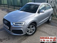 USED 2016 16 AUDI Q3 2.0 TDI S LINE 5d 148 BHP SATNAV LEATHER PRIVACY ONE OWNER FSH SATELLITE NAVIGATION. STUNNING FLORETT SILVER MET WITH BLACK LEATHER S-LINE SPORTS TRIM. 18 INCH ALLOYS. COLOUR CODED TRIMS. PARKING SENSORS. BLUETOOTH PREP. CLIMATE CONTROL. ELECTRIC TAILGATE. TRIP COMPUTER. R/CD/MP3 PLAYER. 6 SPEED MANUAL. MFSW. MOT 04/20. ONE OWNER. SERVICE HISTORY. PRESTIGE SUV CENTRE LS23 7FR. TEL 01937 849492 OPTION 1