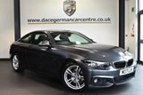 """USED 2017 17 BMW 4 SERIES 2.0 420D M SPORT 2DR AUTO 188 BHP full bmw service history Finished in a stunning mineral metallic grey styled with 18"""" alloys. Upon opening the drivers door you are presented with full black leather interior, full bmw service history, pro satellite navigation, bluetooth, heated seats, dab radio, light package, cruise control, LED fog lights, auto air con, rain sensors, parking sensors"""