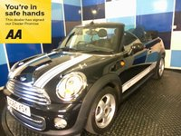 USED 2010 60 MINI CONVERTIBLE 1.6 COOPER 2d 122 BHP A stunning example of this much admired sporty cabriolet finished in unmarked metalic black complemented with 5 spoke alloy wheels ,this car comes equiped with dab cd radio with usb and aux inputs,bluetooth phone conectivity,digital climate control.stop /start system ,onboard computer,front and rear fog lights,cooled glove box ,rear parking sensors plus all the usual refinements.This car looks and drives superbly returning an impressive combined ecconomy of 49.6 mpg,fun and looks all in one.