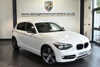 """USED 2013 63 BMW 1 SERIES 2.0 116D SPORT 5DR 114 BHP Finished in a stunning alpine white styled with 17"""" alloys. Upon opening the drivers door you are presented wonderfully maintained anthracite upholstery, bluetooth, dab radio, sport seats, rain sensors, fog lights, sport line, air conditioning"""