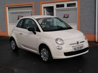 USED 2013 13 FIAT 500 1.2 POP 3d 69 BHP 4 Main Dealer Service Stamps, 1/2 leather White/ Red, Daytime Running Lights, Contrast red door inserts