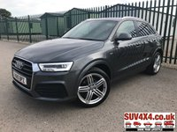 USED 2015 15 AUDI Q3 2.0 TDI QUATTRO S LINE PLUS 5d 148 BHP SATNAV LEATHER ONE OWNER FSH 4WD. SATELLITE NAVIGATION. STUNNING GREY MET WITH BLACK LEATHER S-LINE SPORTS TRIM. CRUISE CONTROL. 19 INCH ALLOYS. COLOUR CODED TRIMS. PRIVACY GLASS. PARKING SENSORS. BLUETOOTH PREP. CLIMATE CONTROL. ELECTRIC TAILGATE. TRIP COMPUTER. R/CD/MP3 PLAYER. 6 SPEED MANUAL. MFSW. MOT 07/20. ONE OWNER. SERVICE HISTORY. SUV4X4 USED SUV CENTRE LS23 7FR. TEL 01937 849492 OPTION 2