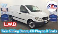 USED 2010 60 MERCEDES-BENZ VITO 2.1 109 CDI LONG WHEEL BASE in White with Twin Sliding Doors, CD Player, Metal Bulkhead, 3 Seats, Electric Windows and more ** Drive Away Today** Over The Phone Low Rate Finance Available, Just Call us on 01709 866668 **