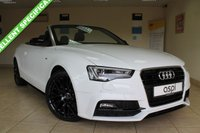 USED 2016 16 AUDI A5 CABRIOLET 2.0 TDI S LINE SPECIAL EDITION PLUS 2d AUTO 187 BHP BLACK FINE NAPPA LEATHER, VERY LOW MILEAGE, SATELLITE NAVIGATION, ELECTRIC FOLDING MIRRORS, REAR CAMERA, MEDIA, BLUETOOTH, STUNNING SPECIAL EDITION CONVERTIBLE