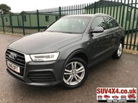 USED 2016 16 AUDI Q3 2.0 TDI S LINE 5d 148 BHP LEATHER ONE OWNER FSH STUNNING DAYTONA GREY MET WITH FULL GREY LEATHER S-LINE SPORTS TRIM. 18 INCH BLACK ALLOYS. COLOUR CODED TRIMS. PARKING SENSORS. BLUETOOTH PREP. ELECTRIC TAILGATE. CLIMATE CONTROL. TRIP COMPUTER. R/CD/MP3 PLAYER. 6 SPEED MANUAL. MFSW. MOT 05/20. ONE OWNER. SERVICE HISTORY. SUV4X4 USED SUV CENTRE LS23 7FR. TEL 01937 849492 OPTION 2