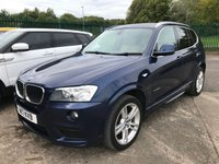 USED 2012 12 BMW X3 2.0 XDRIVE20D M SPORT 5d 181 BHP 4WD. SATELLITE NAVIGATION. STUNNING BLUE MET WITH BEIGE LEATHER TRIM. HEATED SEATS. CRUISE CONTROL. 19 INCH ALLOYS. COLOUR CODED TRIMS. PRIVACY GLASS. PARKING SENSORS. BLUETOOTH PREP. CLIMATE CONTROL. R/CD PLAYER. 6 SPEED MANUAL. MFSW. MOT 06/20. SERVICE HISTORY. SUV4X4 USED SUV CENTRE LS23 7FR. TEL 01937 849492. OPTION 2