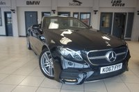 """USED 2018 67 MERCEDES-BENZ E CLASS 2.0 E 220 D AMG LINE PREMIUM 2d AUTO 192 BHP FINISHED IN STUNNING OBSIDIAN BLACK WITH HALF LEATHER SEATS + WIDESCREEN VIRTUAL COCKPIT DISPLAY 12.3"""" WIDESCREEN DIGITAL INSTRUMENT CLUSTER + COMAND NAVIGATION + SMARTPHONE INTEGRATION PACKAGE APPLE CARPLAY/ANDROID AUTO + REAR VIEW CAMERA + ACTIVE PARK ASSIST + MEMORY PACKAGE + AIR-SCARF NECK LEVEL HEATING + DAB DIGITAL RADIO + HEATED FRONT SEATS + AMBIENCE ILLUMINATION + MULTIFUNCTION STEERING WHEEL + AIR CONDITIONING + CLIMATE CONTROL + CRUISE CONTROL + 19"""" AMG DOUBLE SPOKE ALLOY WHEELS"""