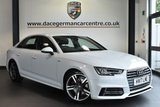 "USED 2017 17 AUDI A4 2.0 TDI S LINE 4DR AUTO 148 BHP  full audi service history Finished in a stunning white styled with  18"" alloys. Upon opening the drivers door you are presented with half leather interior, full audi service history, satellite navigation, bluetooth, heated seats, xenon lights, DAB radio, cruise control, heated electric folding mirrors, climate control, parking sensors"