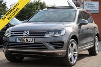 USED 2016 16 VOLKSWAGEN TOUAREG 3.0 V6 R-LINE TDI BLUEMOTION TECHNOLOGY 5d AUTO 259 BHP SATELLITE NAVIGATION, FULL LEATHER + PANORAMIC ROOF