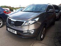 "USED 2013 13 KIA SPORTAGE 1.6 2 5d 133 BHP STUNNING CAPPUCCINO BRONZE METALLIC WITH HALF LEATHER/CLOTH UPHOLSTERY. ONLY TWO OWNERS FROM NEW. LONG MOT TILL 16th MAY 2020. 17"" ALLOY WHEELS. AIR CONDITIONING. ELECTRIC WINDOWS. REMOTE CENTRAL LOCKING. PLEASE GOTO www.lowcostmotorcompany.co.uk TO VIEW OVER 120 CARS IN STOCK."