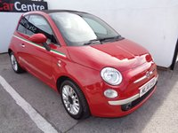 USED 2014 14 FIAT 500 0.9 TWINAIR C LOUNGE 3 door 85 BHP red £136 A MONTH WITH NO DEPOSIT  ELECTRIC CONVERIBLE ROOF AIR CON FREE ROAD TAX 70 MPG BLUETOOTH