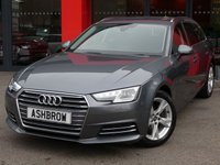 USED 2017 66 AUDI A4 AVANT 1.4 TFSI SPORT 5d 150 S/S SAT NAV, AUDI SMART PHONE WITH APPLE CAR PLAY & ANDROID AUTO, AUDI CONNECT, DAB RADIO, CRUISE CONTROL WITH SPEED LIMITER, LED DAYTIME RUNNING LIGHTS, BLUETOOTH PHONE & MUSIC STREAMING, FRONT & REAR PARKING SENSORS WITH DISPLAY, ELECTRIC TAILGATE, SPORT SEATS, LEATHER MULTIFUNCTION STEERING WHEEL, LIGHT & RAIN SENSORS, AUDI DRIVE SELECT, KEYLESS START, WIFI, AUX INPUT, 2x USB PORTS, CD WITH 2x SD CARD READERS & SIM CARD READER, 1 OWNER FROM NEW, SERVICE HISTORY, BALANCE OF AUDI WARRANTY, VAT Q