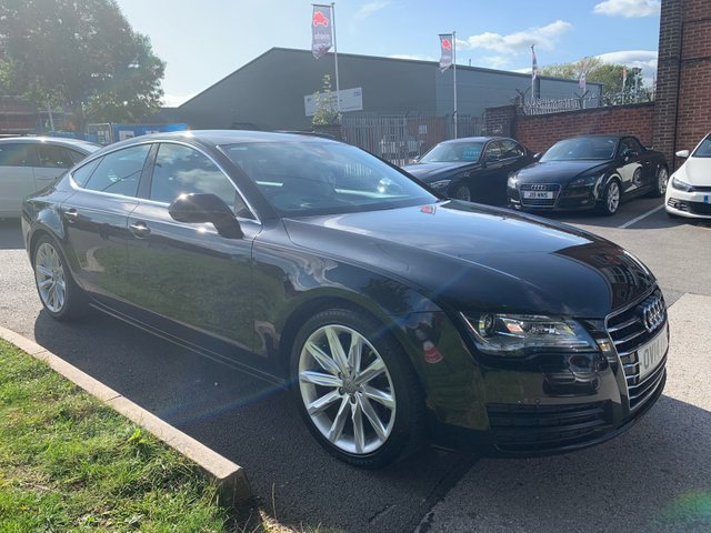 USED 2014 14 AUDI A7 3.0 TDI SE 5d AUTO 201 BHP STUNNING WELL MAINTAINED LOW MILEAGE EXAMPLE WITH SERVICES @ 17K AND 26K. ALLOY WHEELS. PARK SENSORS. HEATED LEATHER SEATS. RADIO/CD/AUX/USB. CRUISE CONTROL. CLIMATE CONTROL. SATELLITE NAVIGATION.