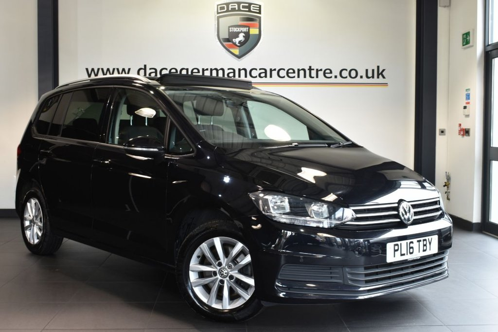 "USED 2016 16 VOLKSWAGEN TOURAN 1.6 SE FAMILY TDI BLUEMOTION TECHNOLOGY 5DR 7SEATS 114 BHP full service history Finished in a stunning black styled with 16"" alloys. Upon opening the drivers door you are presented with cloth upholstery, full service history, bluetooth, panoramic roof, dab radio, heated mirrors, usb/aux port, parking sensors."
