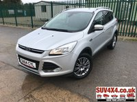USED 2014 64 FORD KUGA 2.0 TITANIUM TDCI 5d 160 BHP SATNAV LEATHER ONE OWNER FSH 4WD. STUNNING SILVER MET WITH BLACK PART LEATHER TRIM. CRUISE CONTROL. 17 INCH ALLOYS. COLOUR CODED TRIMS. PRIVACY GLASS. PARKING SENSORS. BLUETOOTH PREP. CLIMATE CONTROL WITH AIR CON. TRIP COMPUTER. R/CD PLAYER. MFSW. TOW BAR. ROOF BARS. MOT 09/20. ONE OWNER. SERVICE HISTORY. PRESTIGE SUV CENTRE LS23 7FR. TEL 01937 849492 OPTION 1