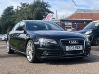 USED 2011 11 AUDI A4 2.0 TDI S LINE 4d 134 BHP NAVIGATION SYSTEM +   FULL LEATHER +  19 INCH ALLOYS +   1 PREVIOUS KEEPER +  MOT JULY 2020 *