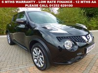 USED 2016 66 NISSAN JUKE 1.2 TEKNA DIG-T 5d 115 BHP All retail cars sold are fully prepared and include - Oil & filter service, 6 months warranty, minimum 6 months Mot, 12 months AA breakdown cover, HPI vehicle check assuring you that your new vehicle will have no registered accident claims reported, or any outstanding finance, Government VOSA Mot mileage check. Because we are an AA approved dealer, all our vehicles come with free AA breakdown cover and a free AA history check.. Low rate finance available. Up to 3 years warranty available.
