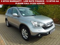 USED 2008 08 HONDA CR-V 2.0 I-VTEC ES 5d AUTO 148 BHP All retail cars sold are fully prepared and include - Oil & filter service, 6 months warranty, minimum 6 months Mot, 12 months AA breakdown cover, HPI vehicle check assuring you that your new vehicle will have no registered accident claims reported, or any outstanding finance, Government VOSA Mot mileage check. Because we are an AA approved dealer, all our vehicles come with free AA breakdown cover and a free AA history check.. Low rate finance available. Up to 3 years warranty available.