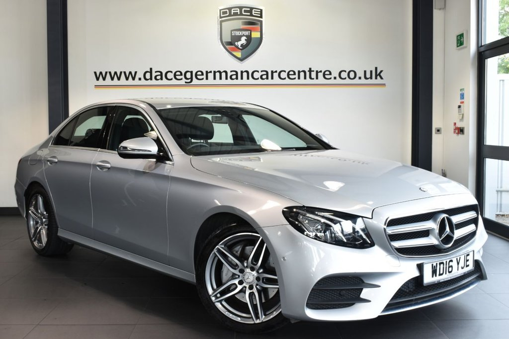 """USED 2016 16 MERCEDES-BENZ E CLASS 2.0 E 220 D AMG LINE 4DR AUTO 192 BHP full  service history Finished in a stunning iridium metallic silver styled with 19"""" AMG alloys. Upon opening the drivers door you are presented with half leather interior, full service history, satellite navigation, bluetooth, heated sport seats, rear-view camera, dab radio, electric folding mirrors, AMG styling package, active park assist"""