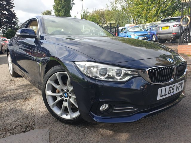 "USED 2015 65 BMW 4 SERIES 2.0 420D LUXURY 2d 188 BHP 2KEYS+30 ROAD TAX+LEATHER+USB+PARK+MEDIA+NAV+18"" ALLOYS+CLIMATE+"