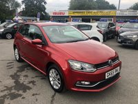 2015 VOLKSWAGEN POLO 1.2 SE TSI 3d 89 BHP IN METALLIC RED WITH BLACK CLOTH INTERIOR, 29000 MILES, FULL SERVICE HISTORY AND ULEZ COMPLIANT  £7499.00