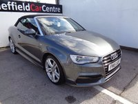 USED 2015 15 AUDI A3 2.0 TDI S LINE 2d AUTO 148 BHP CONVERTIBLE £337 A MONTH HALF LEATHER SATELLITE NAVIGATION BLUETOOTH CLIMATE AND CRUISE CONTROL FULL SERVICE HISTORY