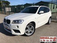 USED 2012 62 BMW X3 2.0 XDRIVE20D M SPORT 5d AUTO 181 BHP SATNAV LEATHER FSH 4WD. SATELLITE NAVIGATION. STUNNING WHITE WITH BLACK LEATHER TRIM. CRUISE CONTROL. 19 INCH ALLOYS. COLOUR CODED TRIMS. PRIVACY GLASS. PARKING SENSORS. BLUETOOTH PREP. CLIMATE CONTROL. R/CD PLAYER. AUTO GEARBOX. MFSW. MOT 09/20. SERVICE HISTORY. SUV4X4 USED SUV CENTRE LS23 7FR. TEL 01937 849492. OPTION 2