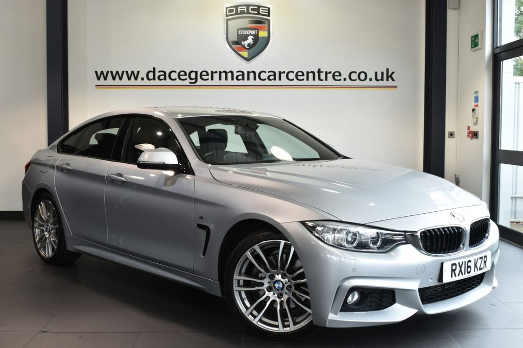"USED 2016 16 BMW 4 SERIES GRAN COUPE 3.0 430D M SPORT GRAN COUPE 4DR 255 BHP full service history Finished in a stunning glacier metallic silver styled with 19"" alloys. Upon opening the drivers door you are presented with full black leather interior, full service history, pro satellite navigation, bluetooth, xenon lights, heated seats, dab radio, cruise control,, auto air con, rain sensors, parking sensors"