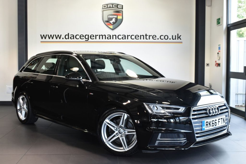 "USED 2016 66 AUDI A4 2.0 AVANT TDI S LINE 5DR 148 BHP full service history Finished in a stunning mythos metallic black styled 18"" alloys. Upon opening the drivers door you are presented with half black leather interior, full service history, satellite navigation, bluetooth, xenon lights dab radio, cruise control, drive select, climate control, usb/aux port, parking sensors"