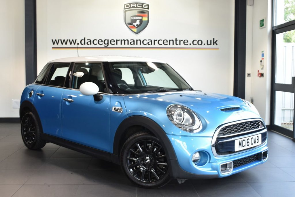 """USED 2016 16 MINI HATCH COOPER 2.0 COOPER S [CHILI PACK] 5DR 189 BHP full service history Finished in a stunning electric metallic blue styled with 16"""" alloys. Upon opening the drivers door you are presented with half leather interior, full service history, bluetooth, dab radio, cruise control, mini excitement pack, light package, sport seats, rain sensors, auto air con"""