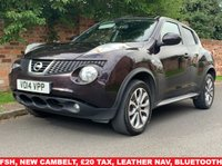 USED 2014 14 NISSAN JUKE 1.5 TEKNA DCI 5d 110 BHP FULL SERVICE HISTORY 6 SERVICES, NEW TIMING BELT,  £20 RAOD TAX, 1YR MOT EXCELLENT CONDITION,  SAT NAV, LEATHER, ALLOYS, CAMERA, CLIMATE, CRUISE, BLUETOOTH, RADIO CD, E/WINDOWS, R/LOCKING, FREE WARRANTY, FINANCE AVAILABLE, HPI CLEAR, PART EXCHANGE WELCOME,
