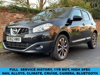 USED 2012 62 NISSAN QASHQAI 1.6 N-TEC PLUS IS DCI 4WDS/S 5d 130 BHP 3 OWNERS, FULL SERVICE HISTORY, 1YR MOT, NAV, ALLOYS, DUAL AIR CON, CRUISE, CAMERA, BLUETOOTH,  FOGS, RADIO CD, E/WINDOWS, R/LOCKING, FREE WARRANTY, FINANCE AVAILABLE